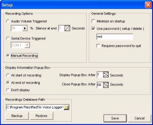 single line call recorder setup screen